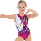 Eurotard Girls Peacock Metallic Foil Rhinestoned Gymnastics Leotard - Dancetastic Dancewear