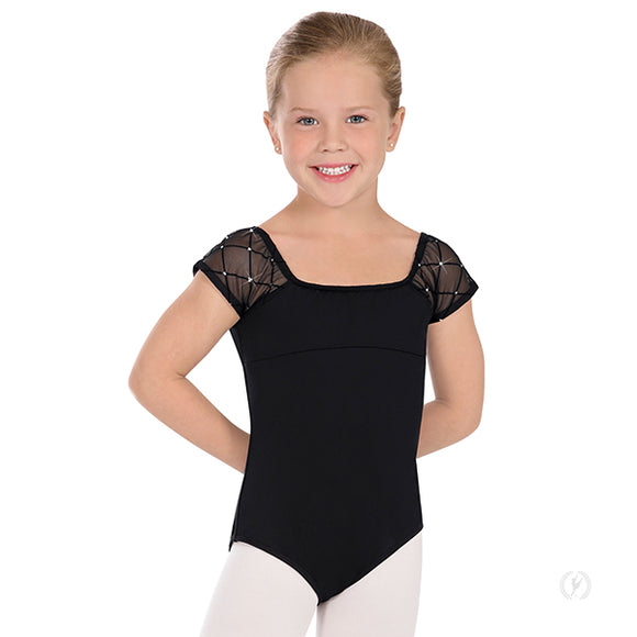 Eurotard Girls Diamond Mesh Cap Sleeve Trestle Back Leotard - Dancetastic Dancewear