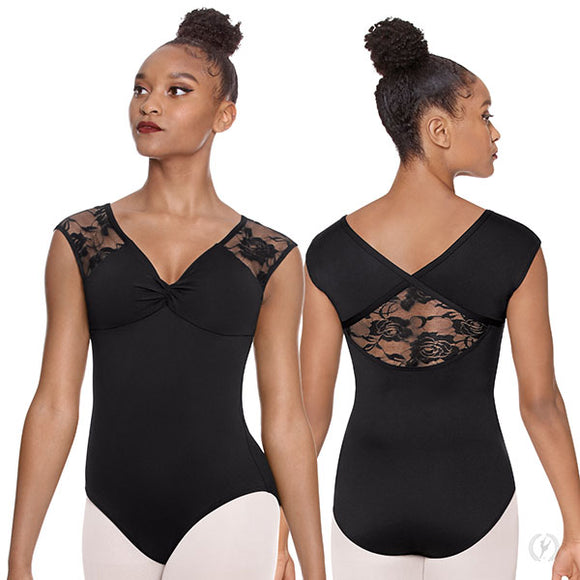 Eurotard Womens Floral Mesh Cap Sleeve Leotard - Dancetastic Dancewear