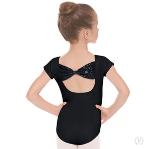 Eurotard Girls Impression Mesh Bow Back Short Sleeve Leotard - Dancetastic Dancewear