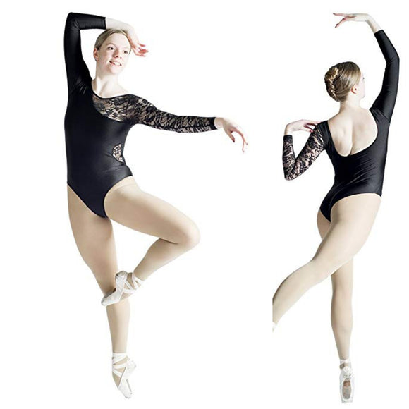 HDW Dancewear Adult Long Sleeve Lace Detail Leotard - Dancetastic Dancewear