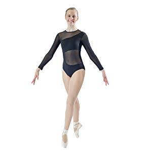 HDW Dancewear Long Sleeve Mesh Detail Leotard - Dancetastic Dancewear