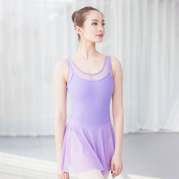 Women's Mesh Neckline Tank Ballet Dress - Dancetastic Dancewear