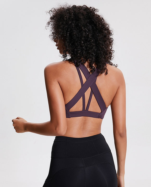 Push Up High Support Cross Straps Crop Top - Dancetastic Dancewear