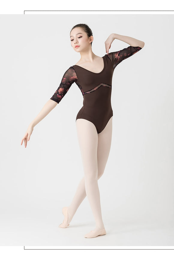 Adult 3/4 Sleeve Printed Mesh Detail Leotard - Dancetastic Dancewear