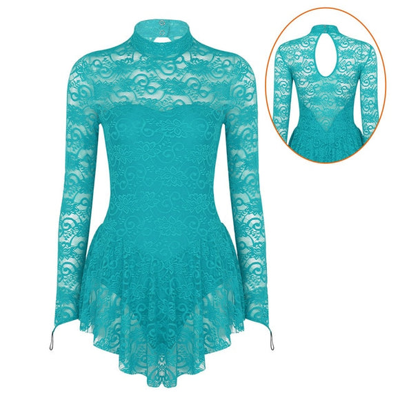 Adult Mock Neck Long Sleeve Soft Lace Dance Costume - Dancetastic Dancewear