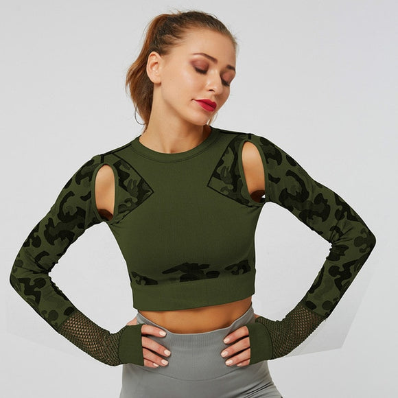 Camo Long Sleeve Crop Top with Thumb Holes - Dancetastic Dancewear