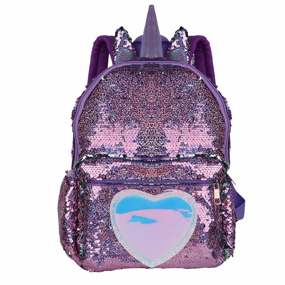 Sparkly Sequins Unicorn Holographic Heart Backpack - Dancetastic Dancewear