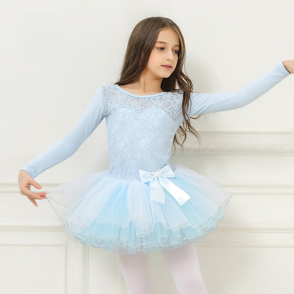 Girls Lace Long Sleeve Ballet Dress - Dancetastic Dancewear