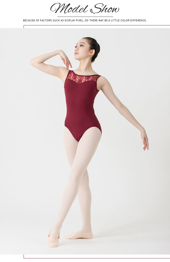 Adult Lace Detail Tank Leotard - Dancetastic Dancewear