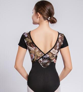 Adult Printed Mesh Back Short Sleeve Leotard