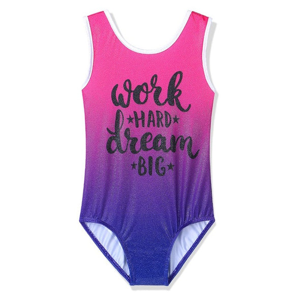 Girls Work Hard and Dream Big Tank Leotard - Dancetastic Dancewear
