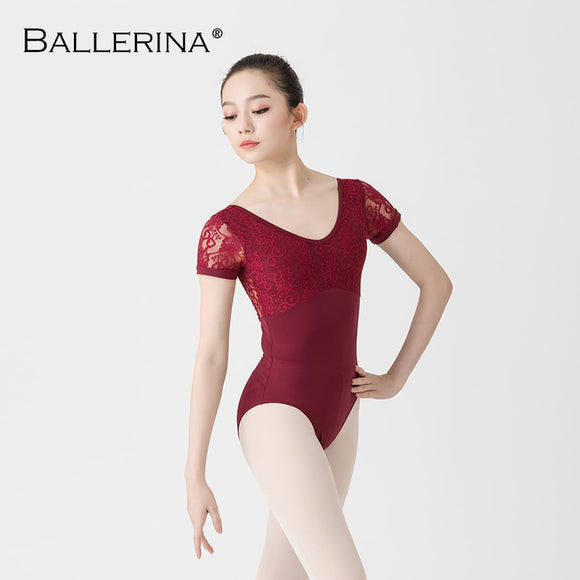 Adult Lace Short Sleeve Leotard - Dancetastic Dancewear