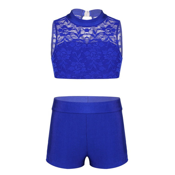 Girls Floral Lace Crop Top and Shorts Set - Dancetastic Dancewear