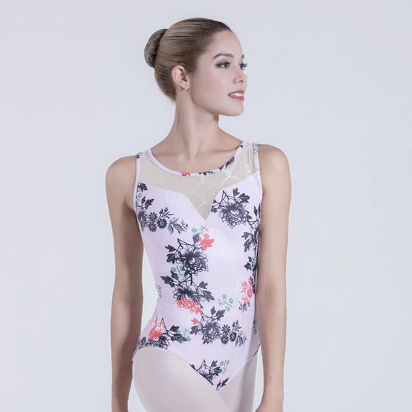 Adult Floral Printed Leotard with Mesh Detail Neckline - Dancetastic Dancewear