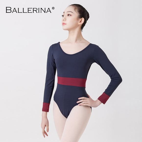 Long Sleeve Leotard with Color Band - Dancetastic Dancewear