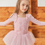 Girls Long Sleeve Dance Dress with Embroidered Flowers - Dancetastic Dancewear