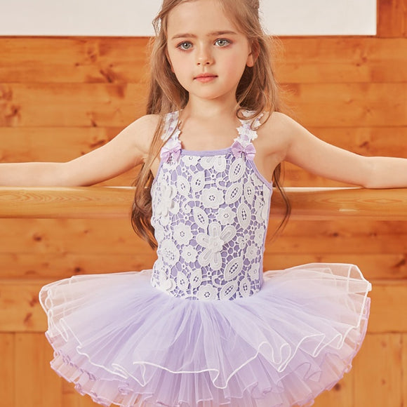 Girls Ballet Dress with Lace Overlay Bodice - Dancetastic Dancewear