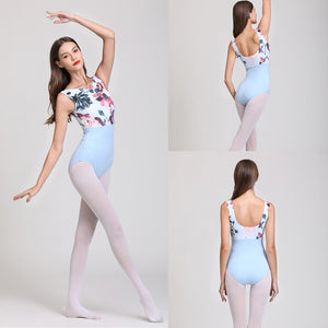 Blue Floral Bodice Leotard - Dancetastic Dancewear
