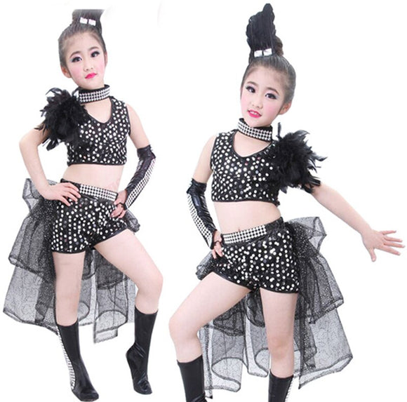 Girls Sequined Feather Dance Costume - Dancetastic Dancewear
