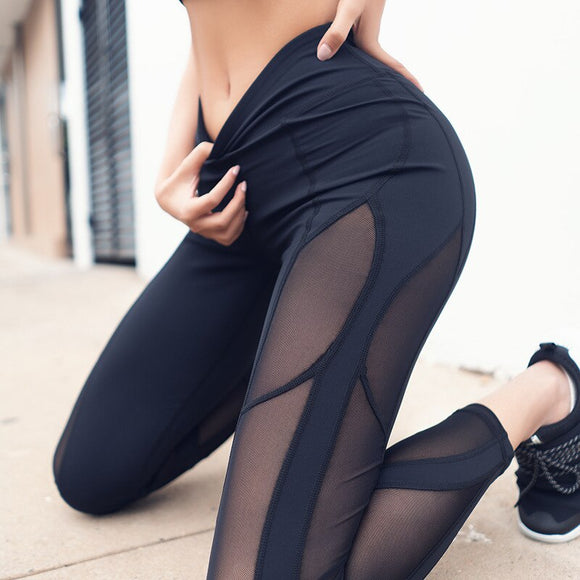 Mesh Splicing Gym Leggings High Waist Quick Drying Dance Leggings - Dancetastic Dancewear
