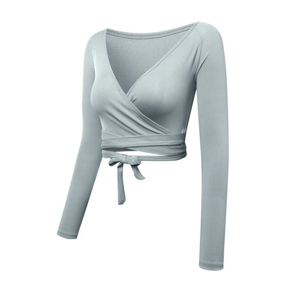 V-Neck Dance Ballet Crop Top Long Sleeve - Dancetastic Dancewear