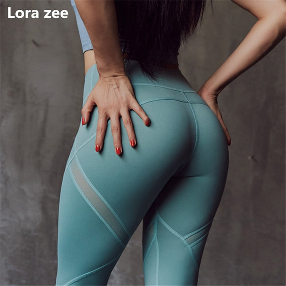 Mesh Panel Dance Leggings High Waisted - Dancetastic Dancewear