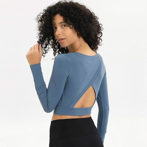 Open Back Long Sleeve Crop Top - Dancetastic Dancewear