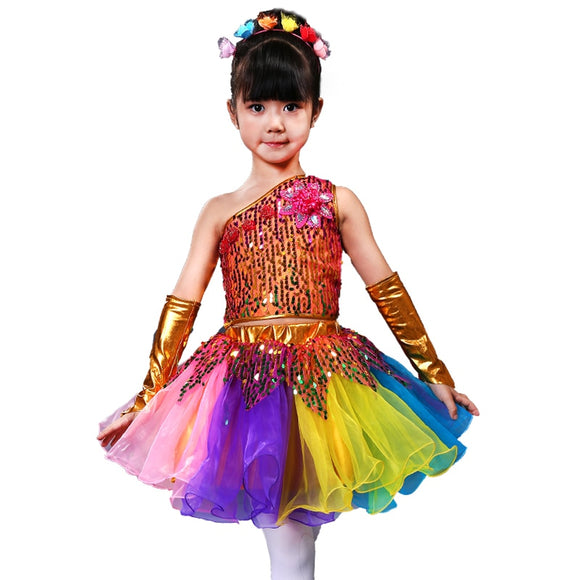 Girls Sequins Jazz Dance Costume - Dancetastic Dancewear