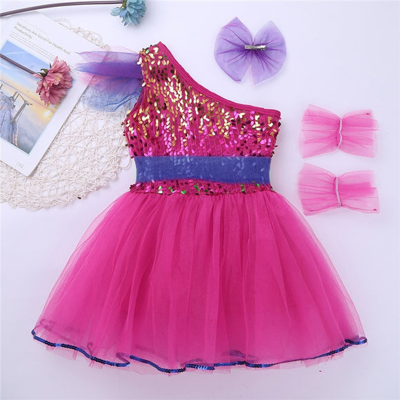 Girls Jazz Dress One-Shoulder Sparkly Sequins Dance Costume - Dancetastic Dancewear