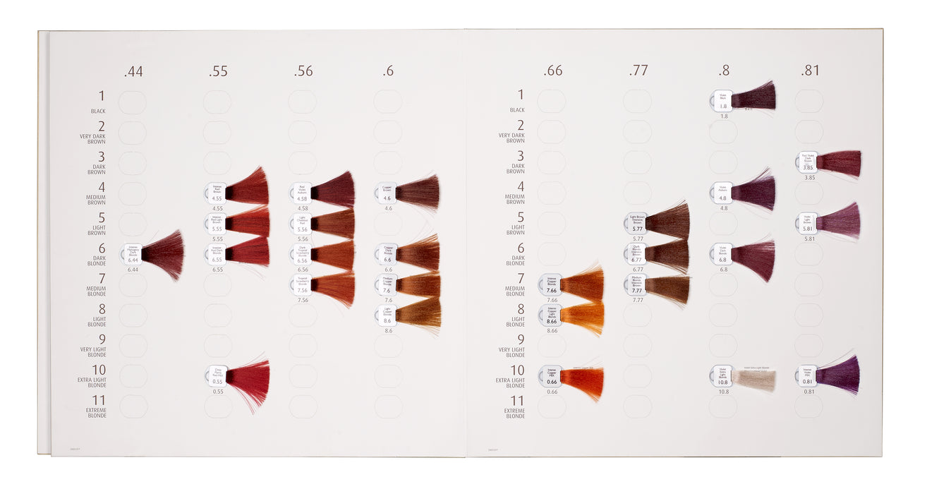Natulique shade chart with detachable samples