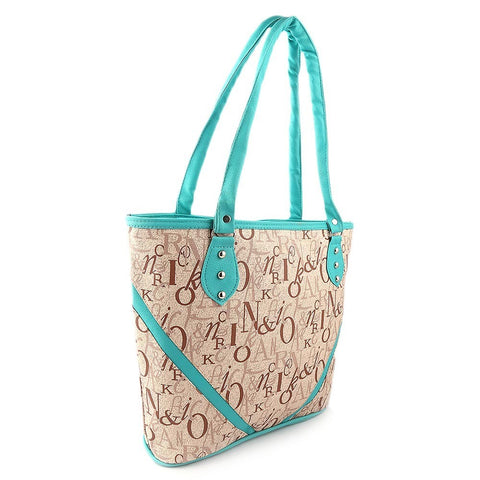 women alphabet pattern handbag