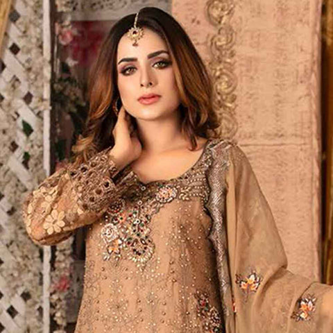 Ruby Alluring Embroidered Chiffon 3 Piece Semi-Stitched Suit - 01