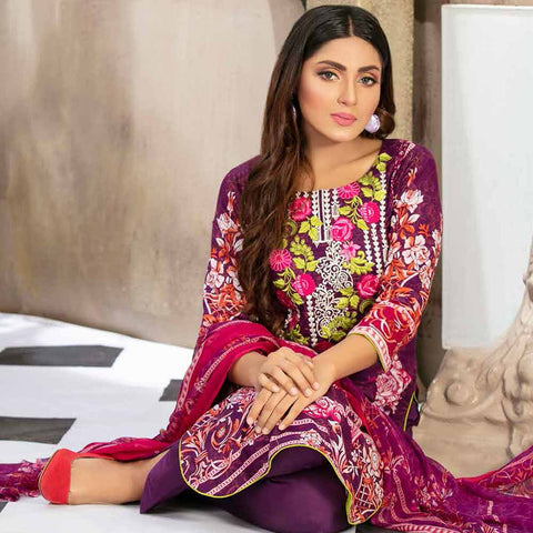 Gulzeb Embroidered Lawn Un-Stitched Suit - 4