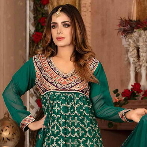 Ruby Alluring Embroidered Chiffon 3 Piece Semi-Stitched Suit - 05
