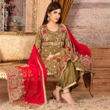 Ruby Alluring Embroidered Chiffon 3 Piece Semi-Stitched Suit - 08