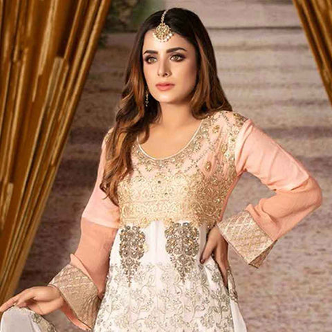 Ruby Alluring Embroidered Chiffon 3 Piece Semi-Stitched Suit - 09
