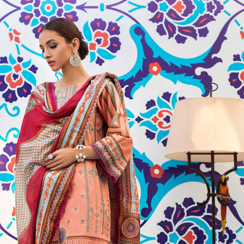 Regalia Digital Printed Embroidered Lawn 3 Piece Un-Stitched Suit - 01