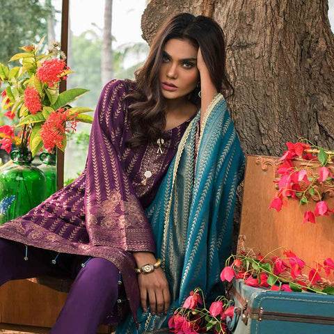 Cotton Jacquard Banarsi 3 Piece Un-Stitched Suit - Purple