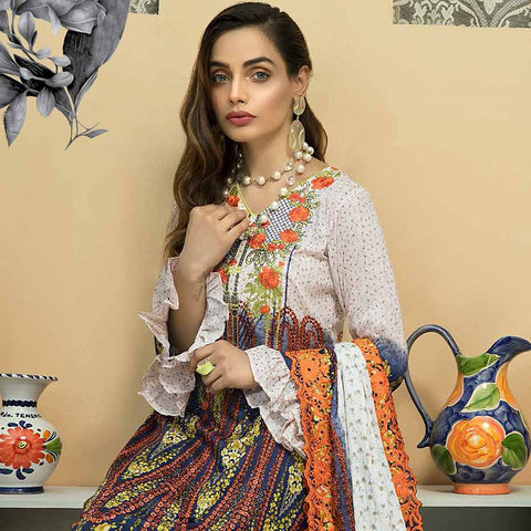 Zebtan Embroidered Cotton 3 Pieces Un-Stitched Suit Vol 01 - 01