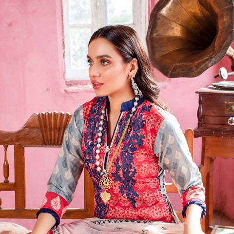 Malkah Embroidered Lawn 3 Piece Un-Stitched Suit - 01