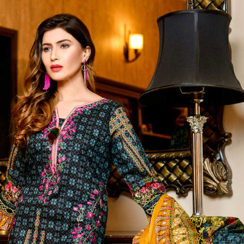 Bin Saeed Alishba Embroidered Lawn 3 Piece Un-Stitched Suit Vol 02 - A1