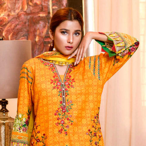 Bin Saeed Alishba Embroidered Lawn 3 Piece Un-Stitched Suit Vol 02 - B1