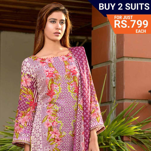 Three Star Printed Lawn Suit Vol 6 - 1 B - test-store-for-chase-value