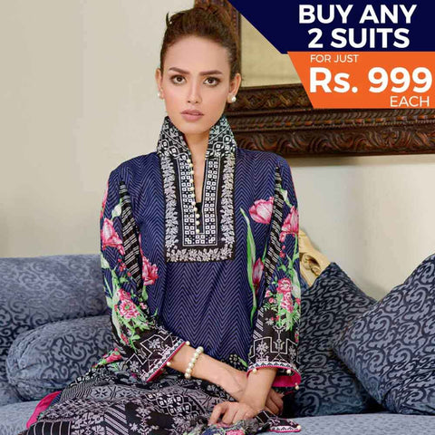 Three Star Printed Cotton 3 Piece Un-Stitched Suit - 10A