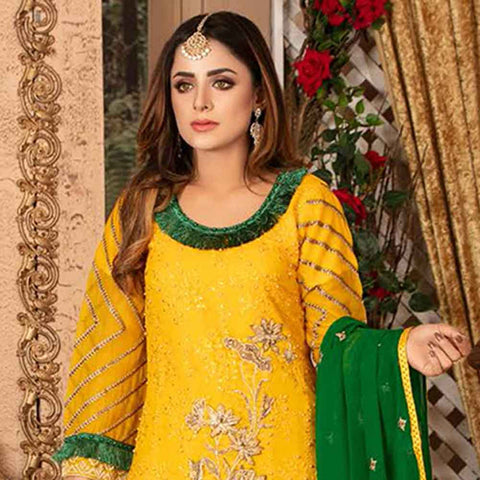 Ruby Alluring Embroidered Chiffon 3 Piece Semi-Stitched Suit - 11