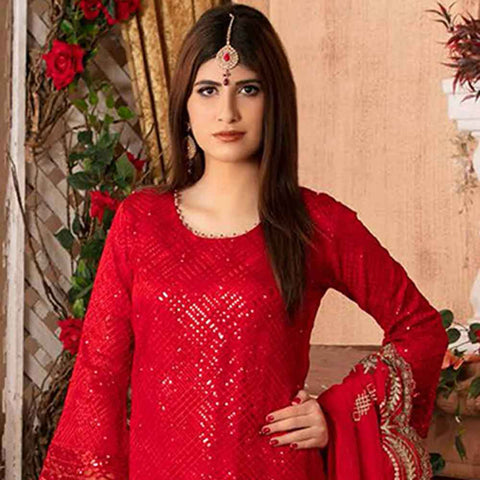 Ruby Alluring Embroidered Chiffon 3 Piece Semi-Stitched Suit - 12