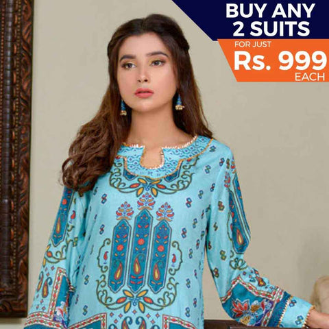Three Star Printed Cotton 3 Piece Un-Stitched Suit - 12B