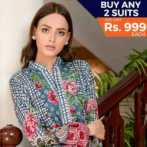 Three Star Printed Cotton 3 Piece Un-Stitched Suit - 15A