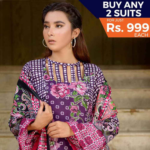 Three Star Printed Cotton 3 Piece Un-Stitched Suit - 15B